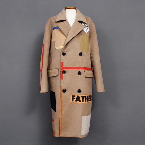 Double Button Tape Patch Wool Long Coat 001