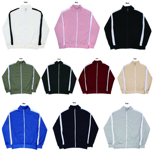 Sleeve Side Contrast Line Color Zip Up Track Top