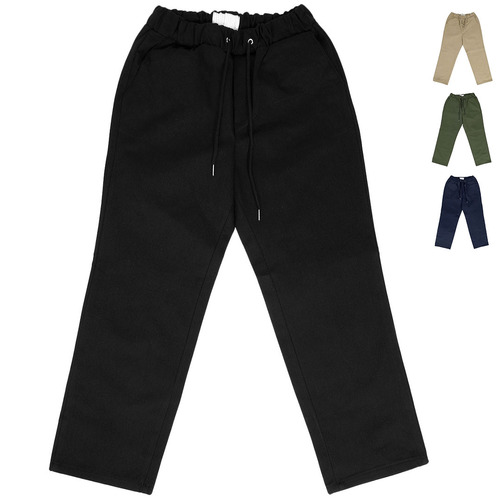 Casual Elasticized Waistband Cotton Pants 001