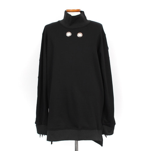 Avant garde High Neck Eyelet Tassel Long Tee 009