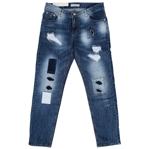 Vintage Distressed Faded Patched Blue Jeans 011