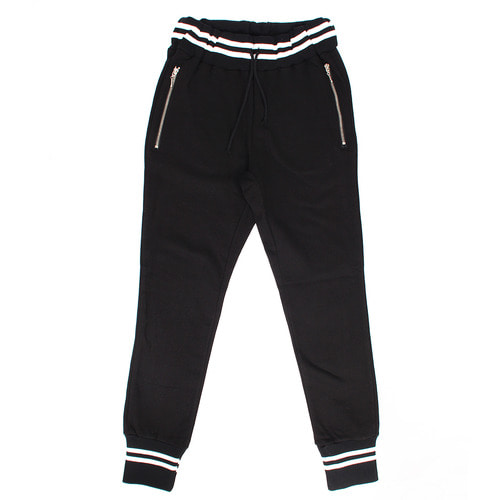 Striped Waistband Zipper Pocket Slim Joggers 014