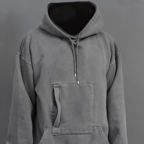 Vintage Pigment Washed Zipper Pocket Boxy Hoodie 001