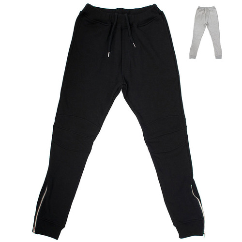 Slim Fit Reinforced Knee Zippered Hem Bikers Sweatpants 018