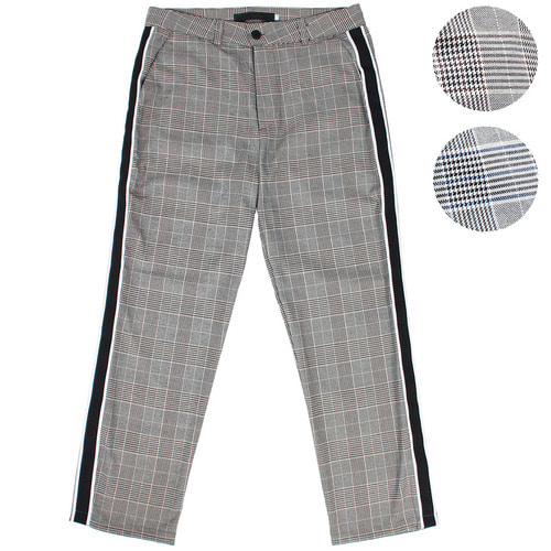 Hound's Tooth Check Pattern Side Line Slack Pants 006