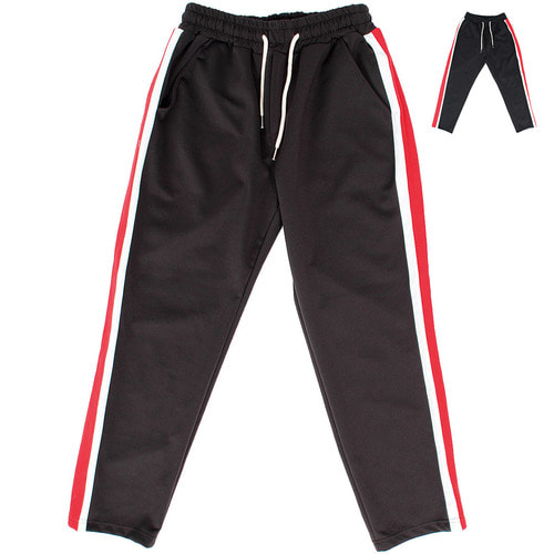 Contrast Side Color Jersey Wide Track Pants 025