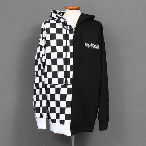 Contrast Half Color Chess Pattern Zip Up Hoodie
