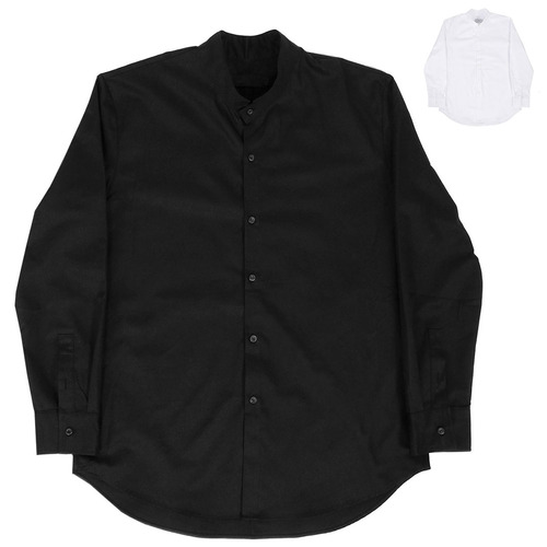 China Neck Collar Black White Long Shirt 009