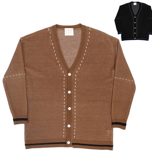 Stitched Styling Button Y knit Cardigan 005
