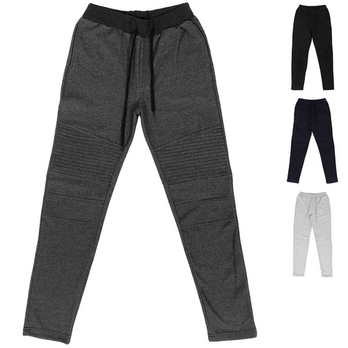 Seaming Panel Reinforced Knee Slim Biker Sweatpants 050