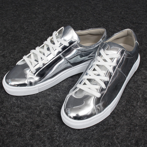 Low Top Shiny Metal Silver Tone Sneakers