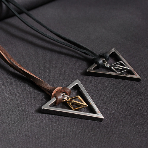 Triangle Rhombus Pendant Leather Strap Necklace
