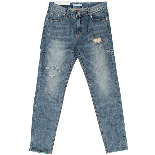 Faded Distressed Cutting Slim Blue Jeans 049