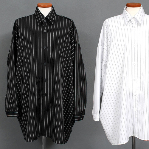 Street Fashion Striped Big Over Boxy Shirt 021