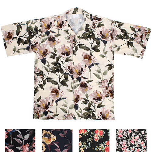 Flower Graphic Printing Loose Fit Boxy Short Sleeve Shirt 023