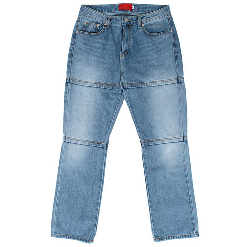 Unique Fashion Stitched Layered Straight Blue Jeans 055
