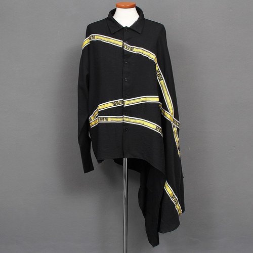 Avant garde Unbalanced Half Draped Cape Half Shirt 030