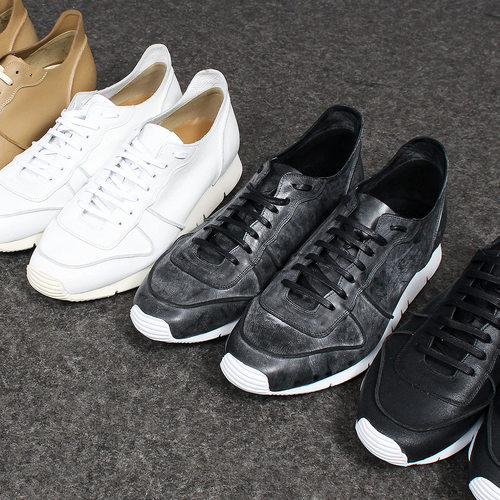 Crack Cowhide Leather Lace Up Runner Sneakers 010