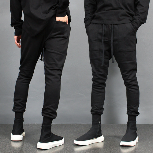 Basic Slim Fit Low Crotch Jogger Pants