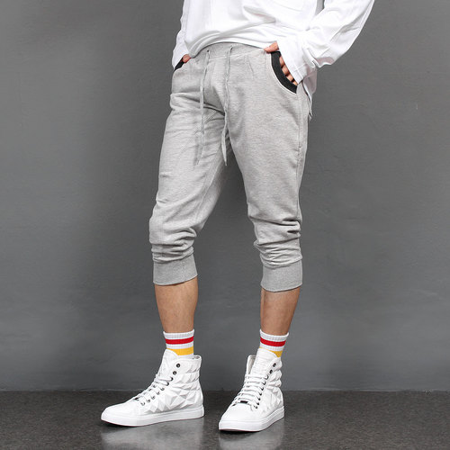 Contrast Pocket Low Crotch 3/4 Baggy Sweatpants 003