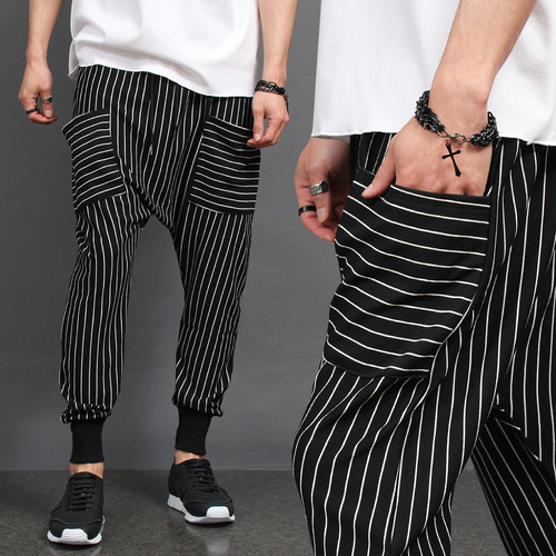 Drop Crotch Striped Pattern Pocket Baggy Sweatpants 064