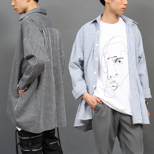 Street Fashion Striped Big Over Boxy Shirt Jacket 028