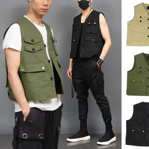 Techwear Multi Pocket Button Up Vest