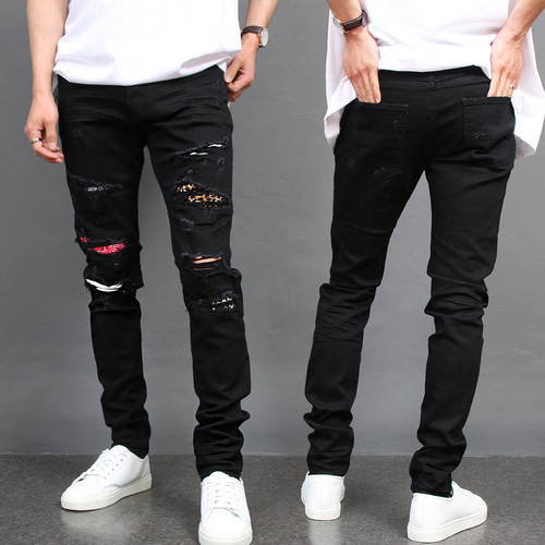 Distressed Destroyed Embroidered Art Patch Black Skinny Jeans
