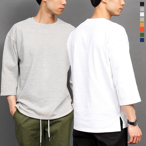 Loose Fit 3/4 Sleeve Split Side Tee 233