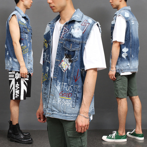 Handpainting Vintage Destroyed Distressed Denim Vest 008