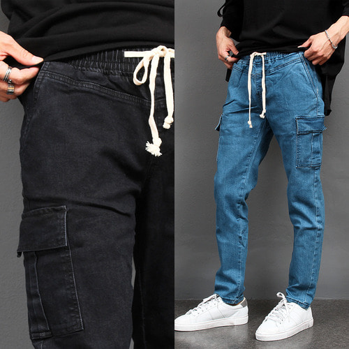 Elasticized Waistband Cargo Pocket Slim Fit Denim Pants 076