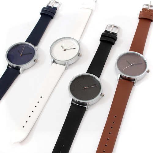Contrast Color Round Leather Strap Watch 013