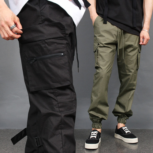 Zipper Cargo Pocket Carf Buckle Strap Jogger Pants 005