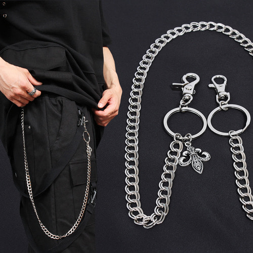 Clover Jeans Pants Ring Linked Surgical Steel Chain C7