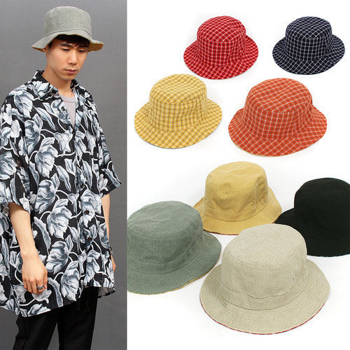 Wire Brim Reversible Check Color Bucket Hat 014
