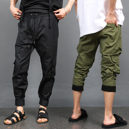 Techwear Look Adjustable Hem Cargo Pocket Jogger Pants 007