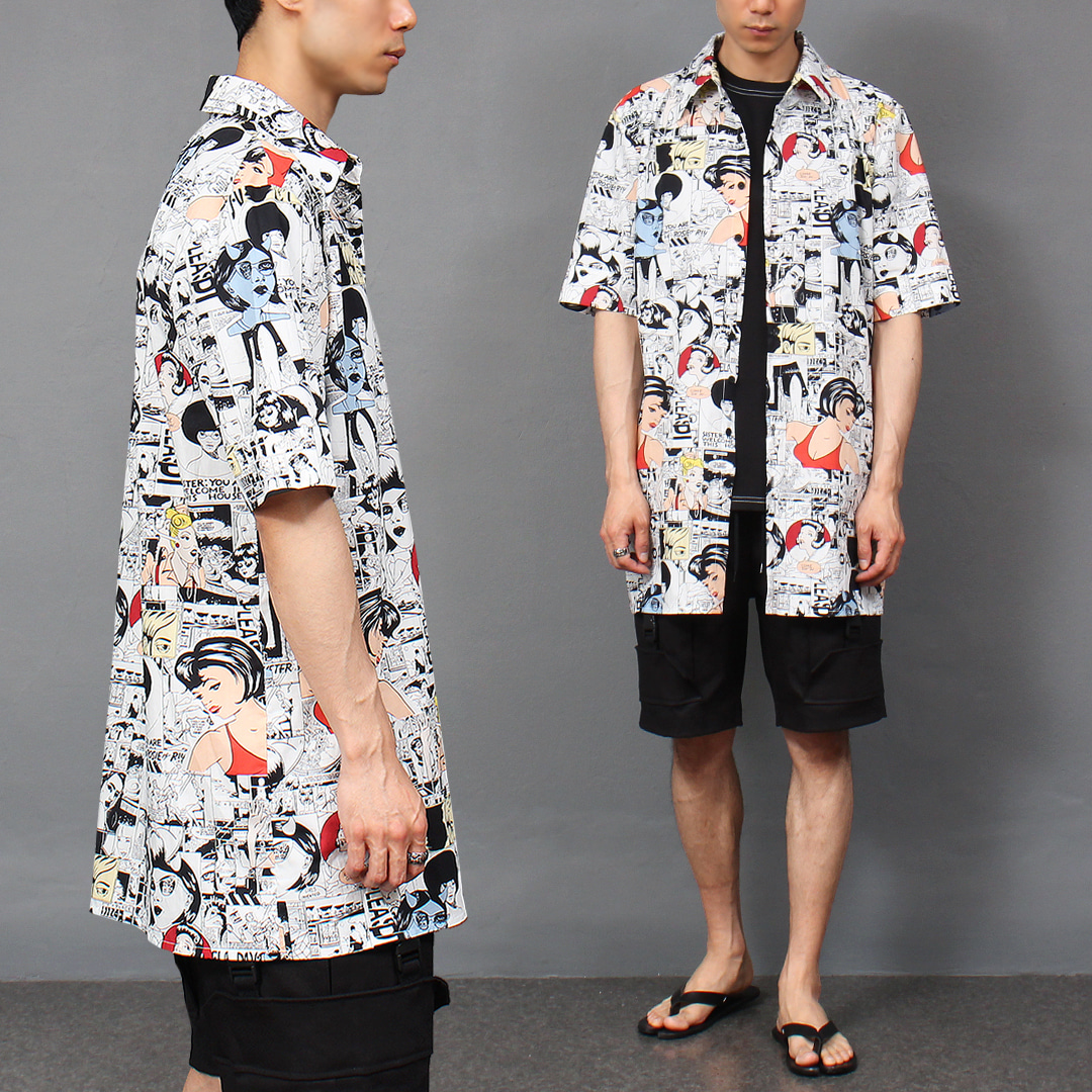 Cartoon Graphic Printing Boxy Short Sleeve Shirt 043
