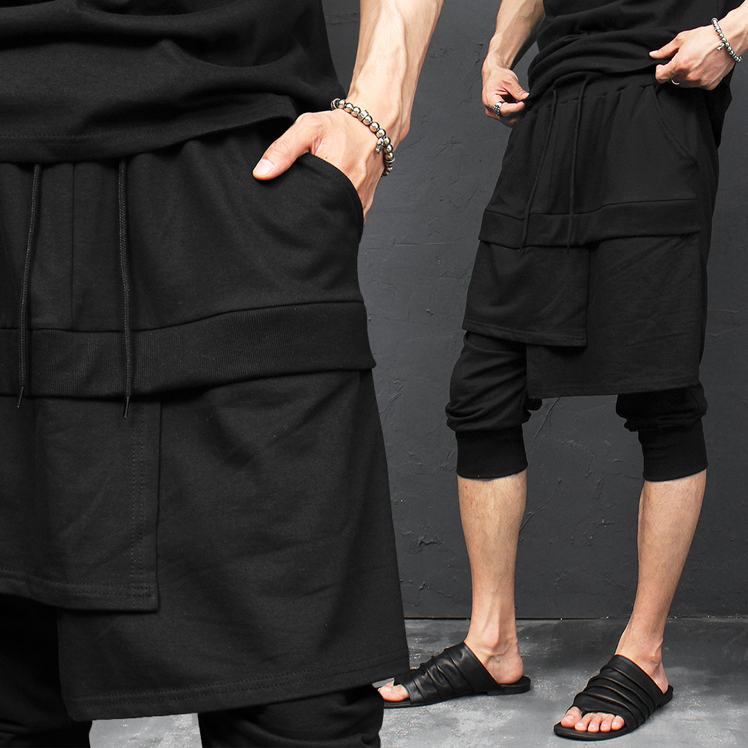 Unbalanced Double Layered 3/4 Jogger Sweatpants 047