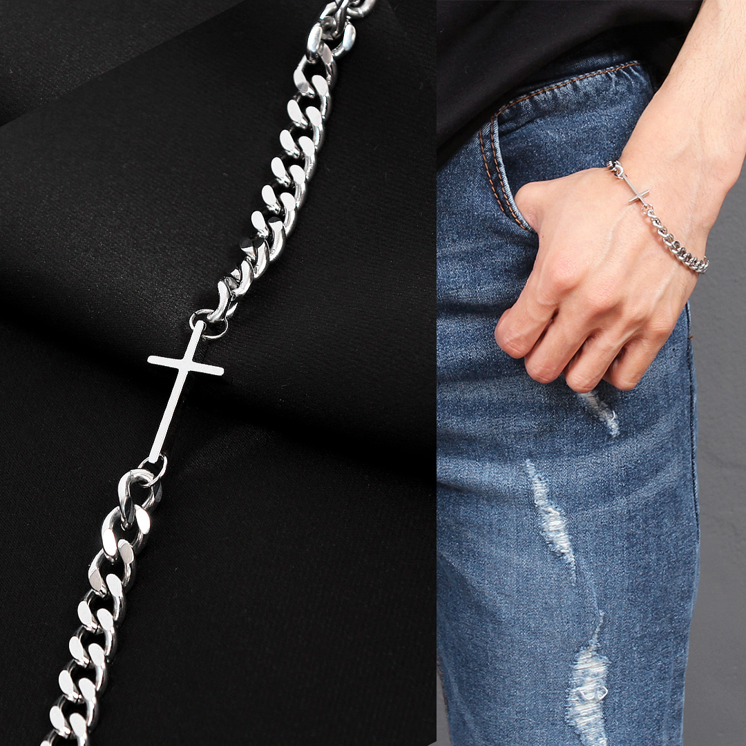 Cross Pendant Stainless Steel Chain Bracelet B225