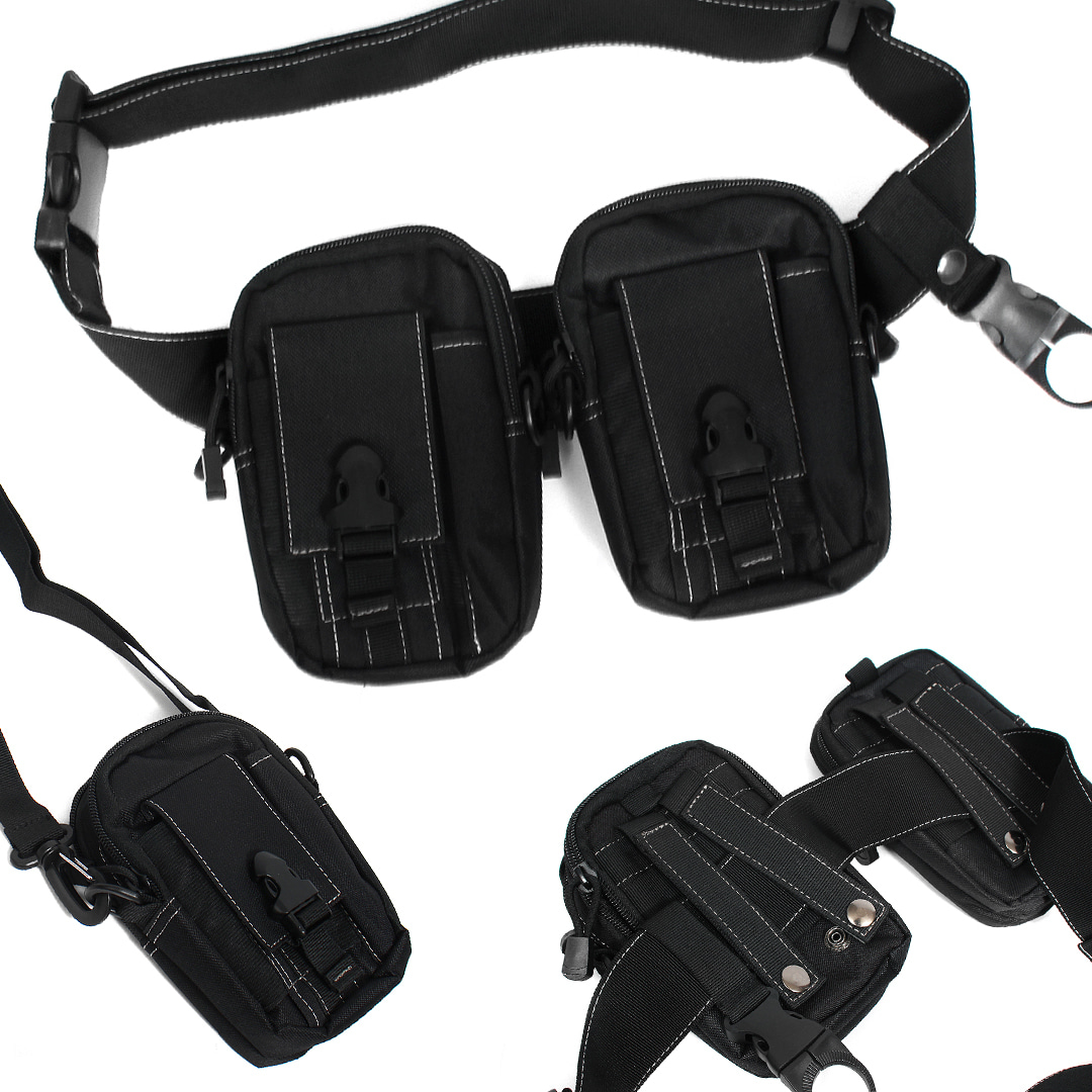 Techwear Look Buckle Belt Removable Zipper Pocket Bag 009