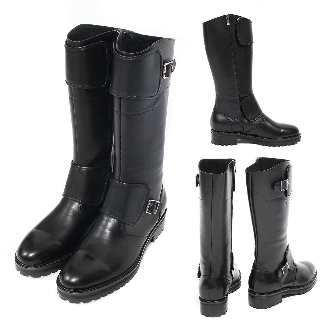 Double Warmer Buckle Side Zipper Handmade Leather Long Boots 002