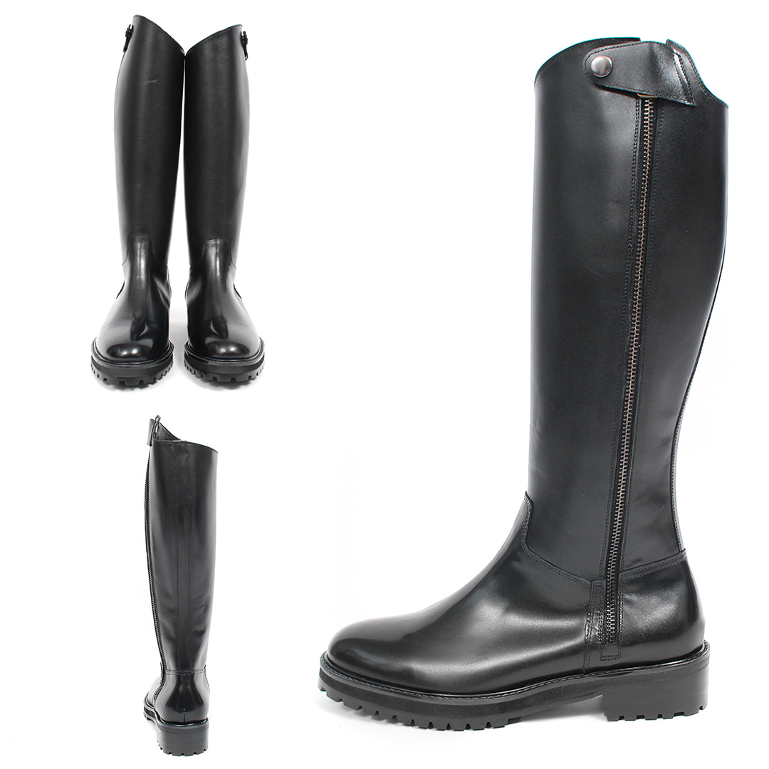 Snap Button Cover Side Zipper Handmade Leather Long Boots 004