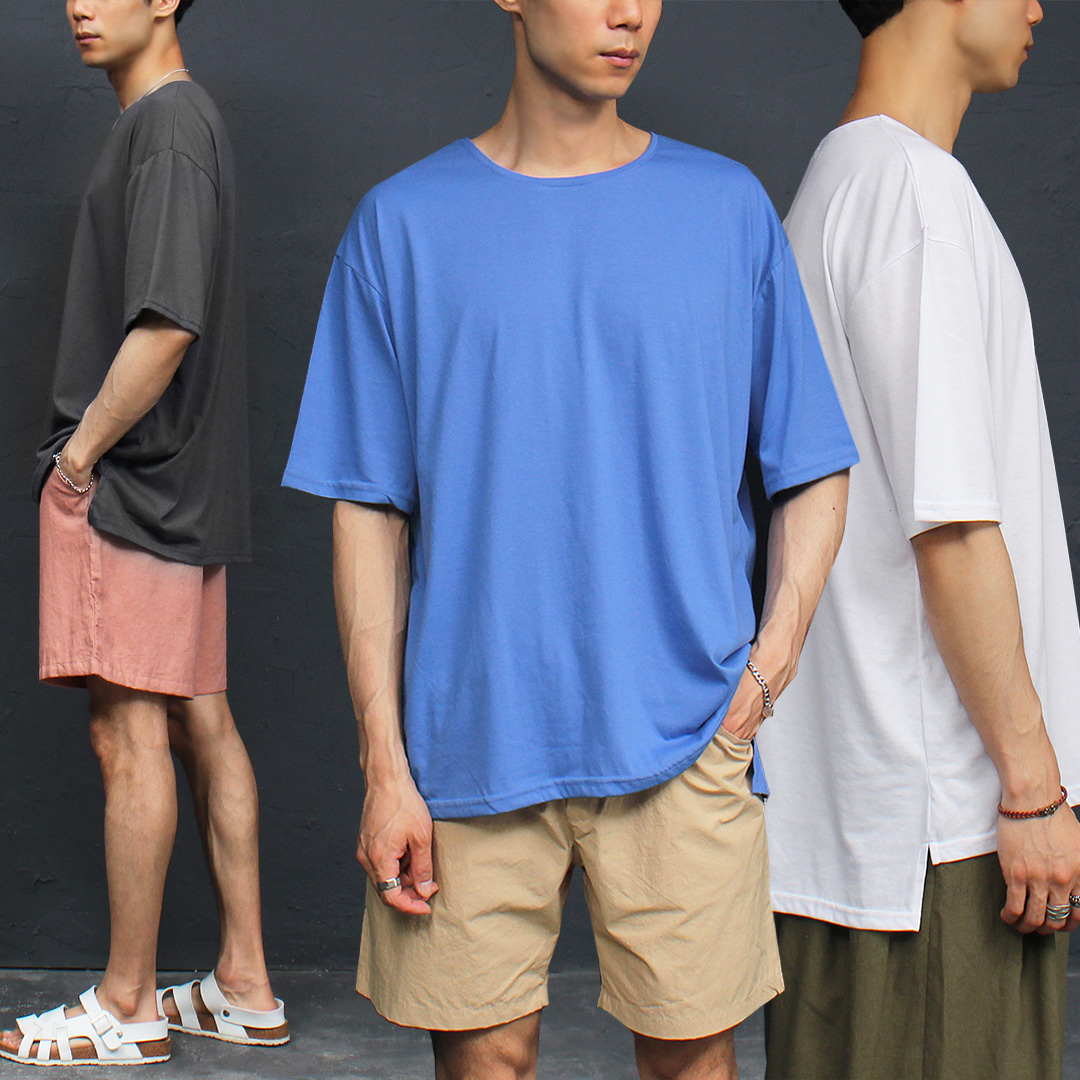 Unbalanced Split Side Long Back Hem Boxy Tee 307