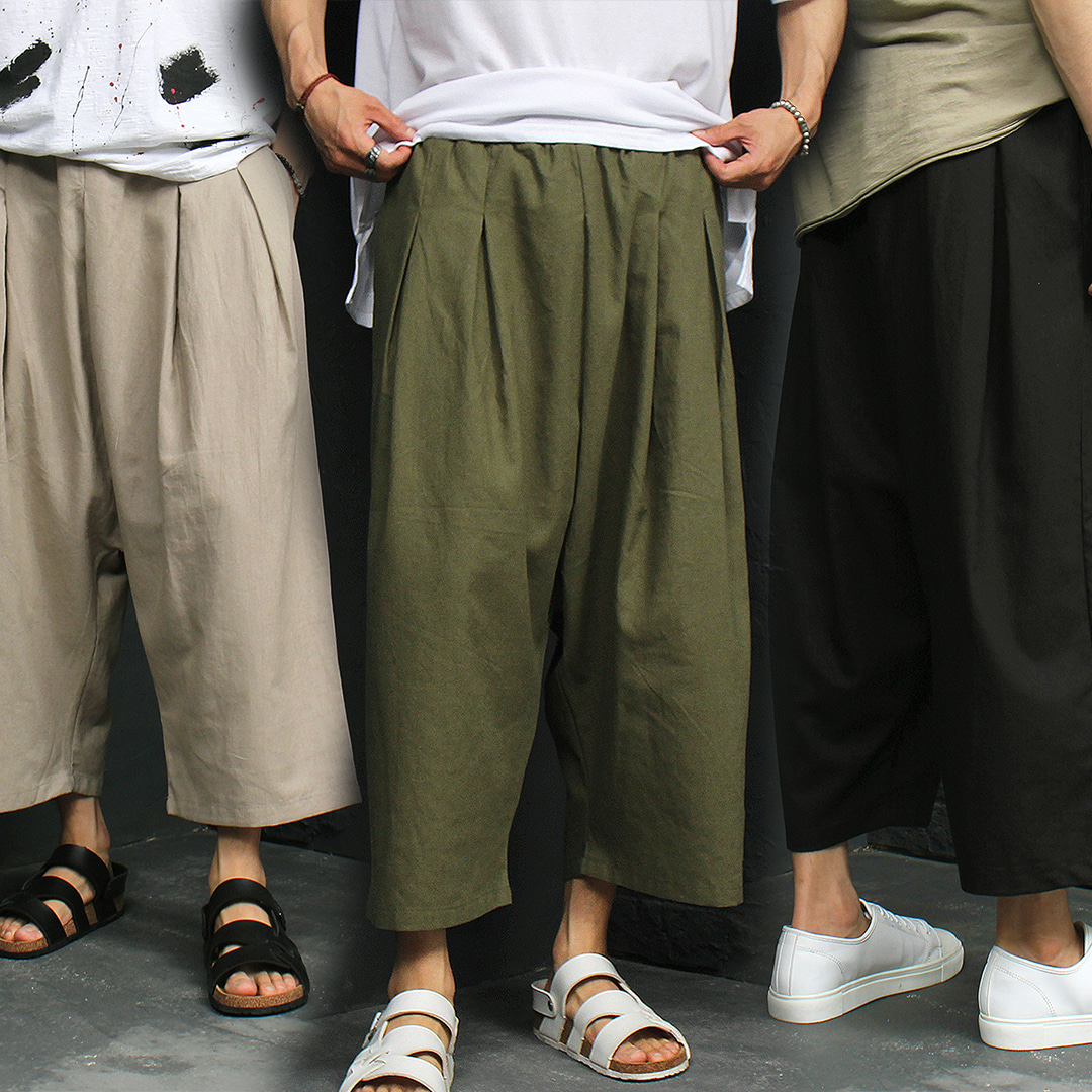 Elastic Waistband Low Crotch Wide Linen Baggy Pants 007
