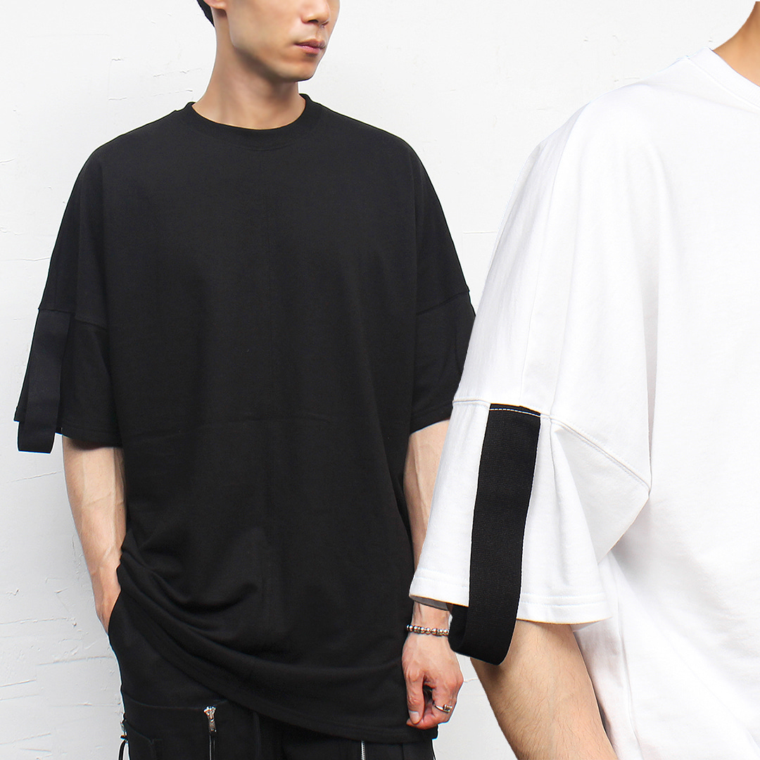 Big Over Wide Shoulder Webbing Strap Boxy Tee 307