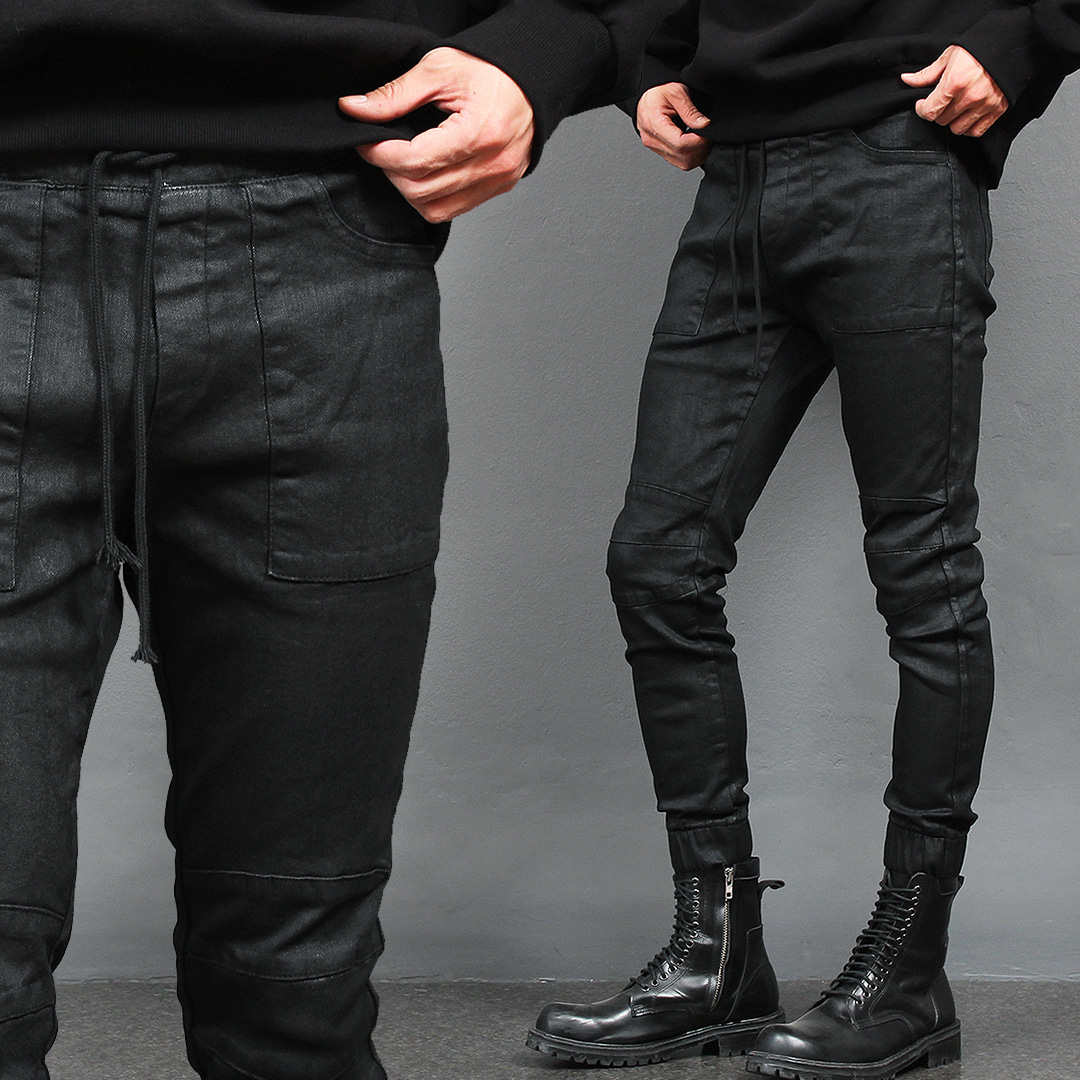 Wax Coated Biker Skinny Black Denim Jogger Pants 1088