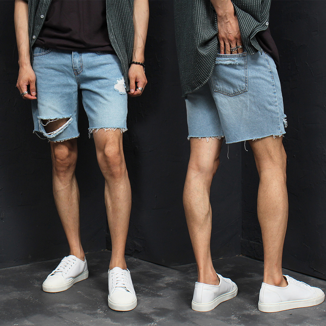Vintage Distressed Cut Off Hem Destroyed Denim Shorts 050
