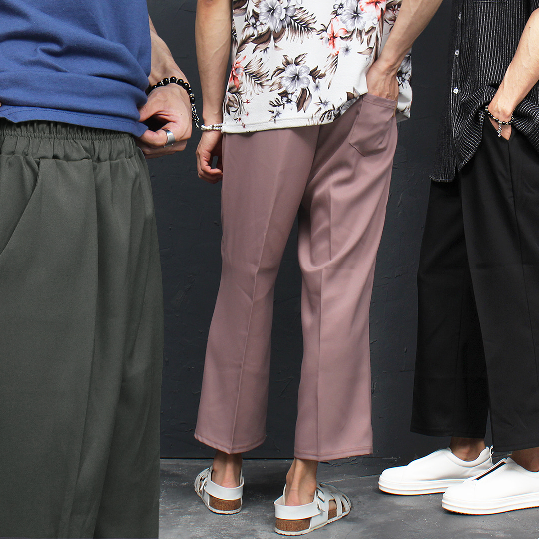 Wide Crop Elastic Waistband Slacks Pants 037