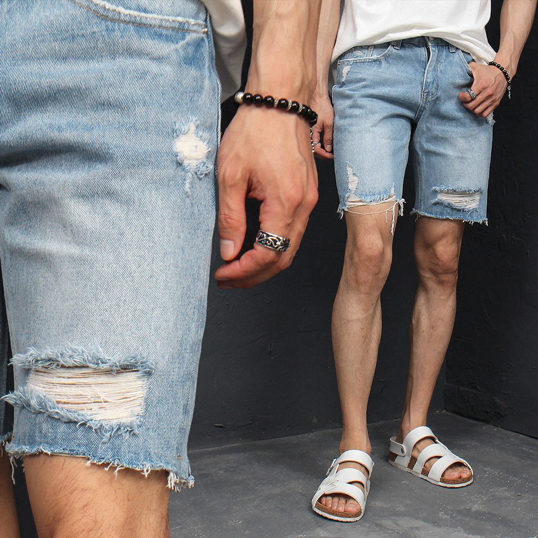 Vintage Distressed Cut Off Destroyed Denim Shorts 055