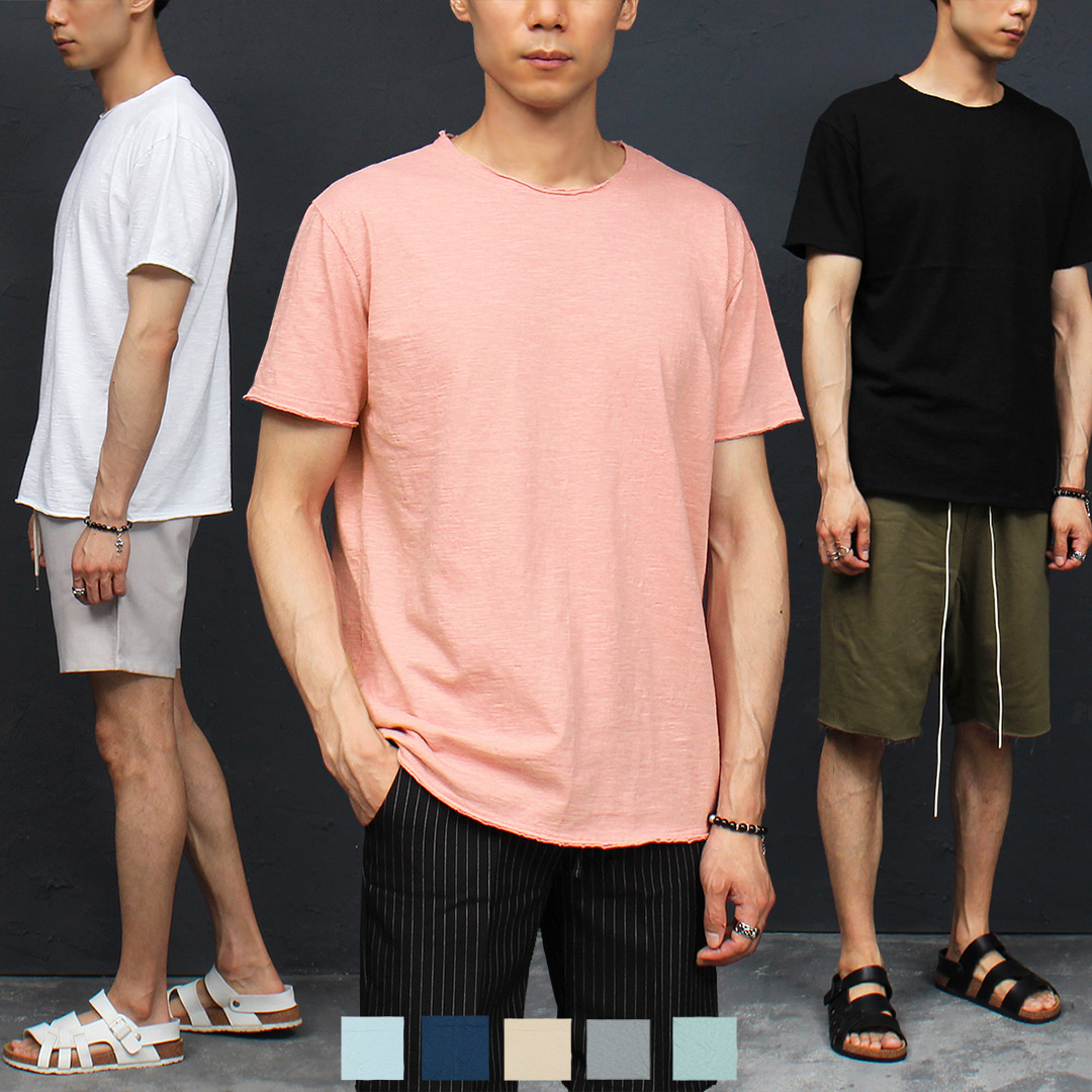 Vintage Trim Color Crew Neck Short Sleeve Tee 319